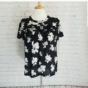 LAST CALL ♡ Elle black and white floral top